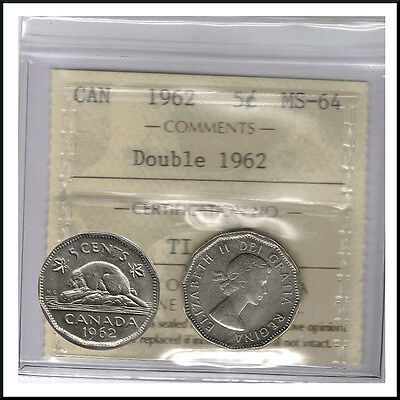 Canada 1962 Double Date 1962   5 Cent Nickel Coin ICCS MS-64