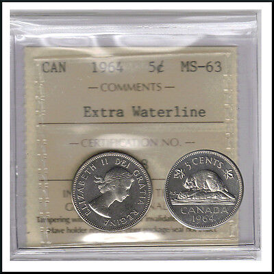 Canada 1964 Extra Water Line   5 Cent Nickel Coin ICCS MS-63