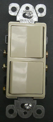 New Morris Decorator Two Single Pole Switches Ivory 15A Amp 120/277V 81980 Nib