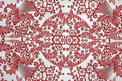 Oilcloth by the metre Mexico Tablecloth Red Eden Design 1.2m wide fabric