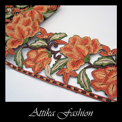 EMBROIDERED LACE TRIM - Copper Coral Flower Motif Edging 0.5y - VERY WIDE 11cm