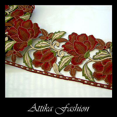 EMBROIDERED LACE TRIM - Red Brown Flower Leaf Motif Edging 0.5y - VERY WIDE 11cm