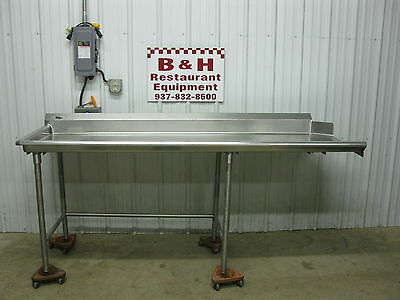 "86 1/2"" Stainless Steel Heavy Duty Left Side Clean Hobart Dish Washer Table 7'"