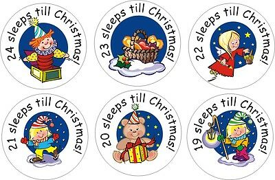 2 x 24 Advent Countdown to Christmas stickers
