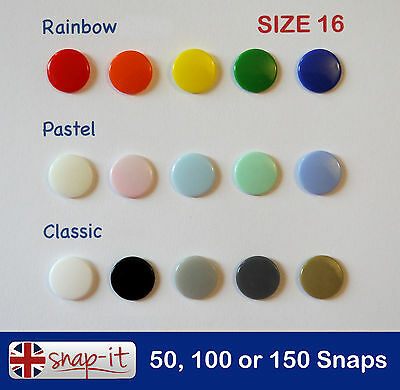 50/100/150 KAM SNAPS, Size 16 **15 COLOURS** Plastic Poppers, Snap Fastener