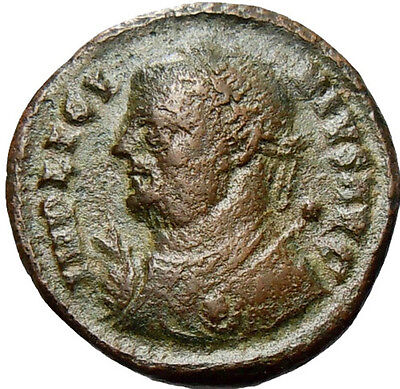 Licinius I AE Follis Jupiter holding Victory  Authentic Imperial Roman Coin Rare
