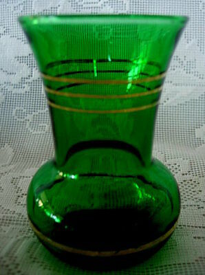 Vintage Collectible Emerald Green Blown Glass Miniature Vase - Gold Bands