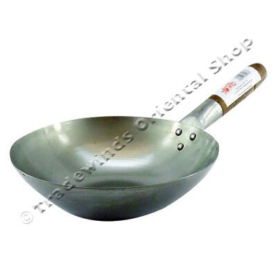 "10"" Flat Based Carbon Steel Wok - Commercial Quality"