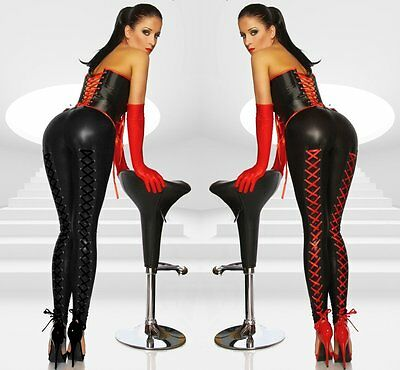 Somnia Luna Wetlook Leggings mit Schnürung Hose in Lack- Leder- Latex-Optik