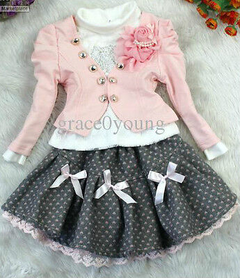 Girls 3 peice outfit pink white jacket tutu skirt wedding party special luxury