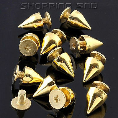 100 Pcs DIY 9mm Gold Cone Spots Metal Studs Leathercraft Rivets Bullet Spikes