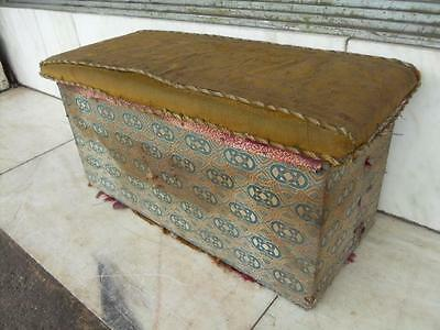 Edwardian Antique Upholstered Pine Box / Chest / Trunk / Upholstered Seat