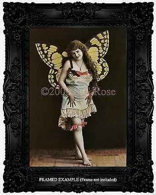 Victorian BUTTERFLY GIRL Lingere Fantasy Antique HAND-TINTED PHOTO Art Print