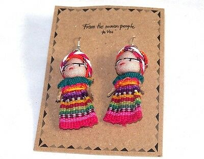 New Guatemalan Worry Doll Dolls Earrings By Mayan Artisans Fair Trade