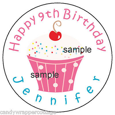 """CUPCAKE Birthday PARTY Personalized 2.5"""" Round Labels Favors Sticker Loot Bags"""