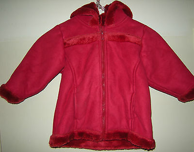✿ NEXT RED FUR LINED SUEDE GIRLS BABY HOOD SNOW WINTER COAT JACKET 12-18mths