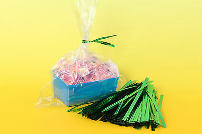 500x, 3.75'' Twist Tie for Bakery, Cello Candy Bags, Metallic Green