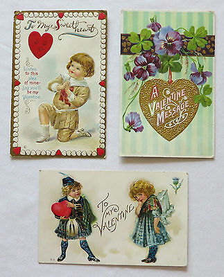3 Early 1900's VALENTINE'S DAY Postcards