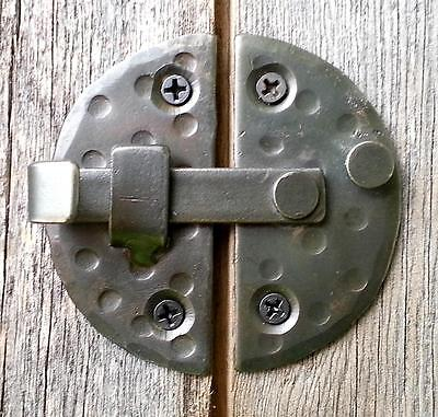 "HANDMADE 2.9"" ROUND CABINET DOOR LATCH Black Antique Iron Cupboard  Decor Lock"