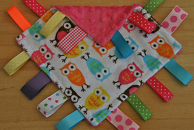 BABY TAGGY COMFORT BLANKET  / SOFT OWL MINKY / LOVELY GIFT / RIBBONS / 3 SIZES