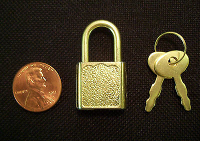 25 Small Metal Padlock Mini BRASS Tiny Luggage Donation Craft Box Lock Keys 20mm