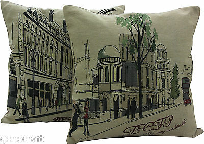 LONDON Vintage Style Street View Pillow Cushion Covers