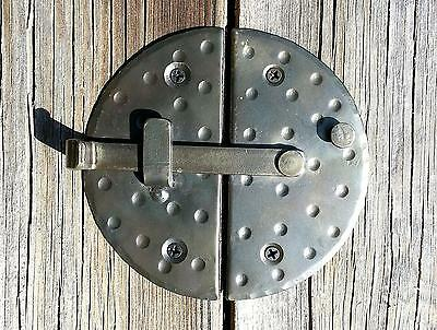 "HANDMADE 4.7"" BIG ROUND CABINET DOOR LATCH Black Antique Iron Cupboard Lock"