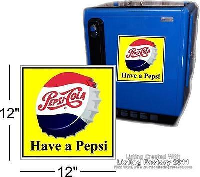 """12"""" DRINK PEPSI CAP WITH YELLOW BACKGROUND FOR SODA POP VENDING MACHINE COOLER"""
