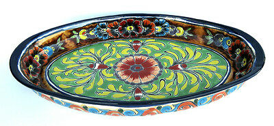 "MEXICAN TALAVERA POTTERY DECORATIVE OVAL DISH 17 1/2"" TRAY"