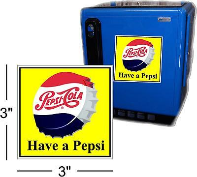 """3"""" DRINK PEPSI CAP WITH YELLOW BACKGROUND FOR SODA POP VENDING MACHINE COOLER"""