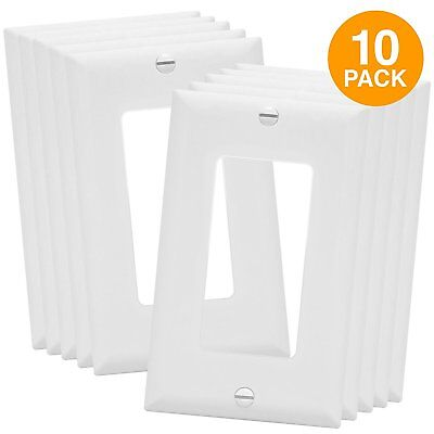 10 Pack Decorator Single Gang GFCI Rocker Wall Switch Plate Outlet Covers White