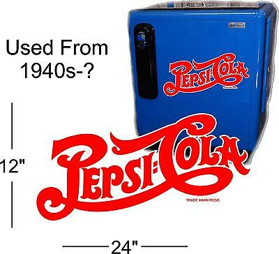 "24""  Pepsi Script 40's Style Decal For A Soda Pop Vending Machine Cooler Or Sign"