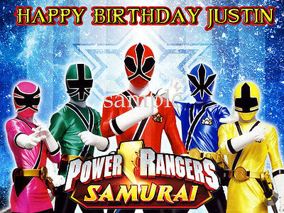 POWER RANGERS Samurai Edible CAKE Topper Icing Sheet Image FREE SHIPPING