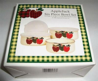 NIB 6 Pc International AppleJack Apples Green Sponge Plaid Metal Bowls With Lids