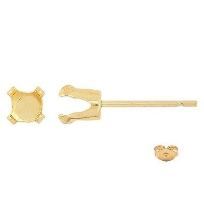 Solid 14kt Gold Round 4 prong Snap-tite earrings settings {3mm-6mm}