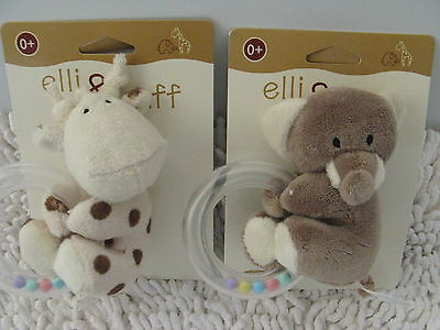 Elli And Raff Baby  Soft Toy With Rattle And Teether