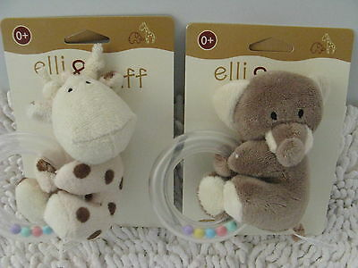 Elli And Raff Baby  Soft Toy With Teether And Rattle
