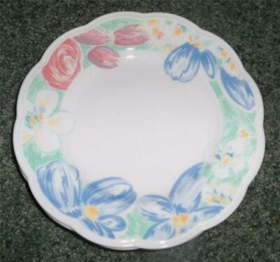4 English Johnson Brothers Pink Blue Green Floral Scalloped Salad Plates