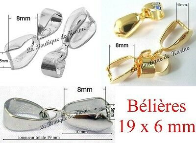 LOT 15 BELIERES ATTACHE PENDENTIF METAL ARGENTE OU DORE 6 x 19 mm BIJOUX PERLES