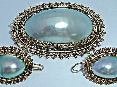 Antique - Vintage 14K Gold Large Mabe Pearl Pendant Brooch Combo & Earrings Set