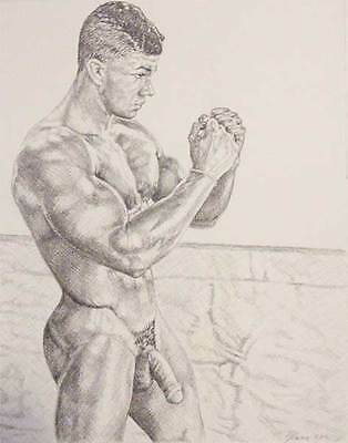 """9"""" x 12"""" drawing print nude male vintage boxing practice diptych A gay interest"""