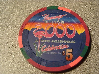 $5.00 Flamingo Hilton Casino Millennium Chip Las Vegas Nevada Blackjack $5 MINT