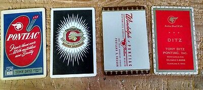 4 VINTAGE PONTIAC CHIEF SWAP PLAY CARDS all in used condition