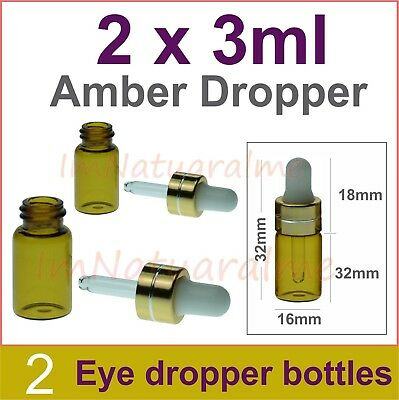 2 x 3ml Amber Eye Dropper Glass Bottle Essential Oil Pipette Aromatherapy