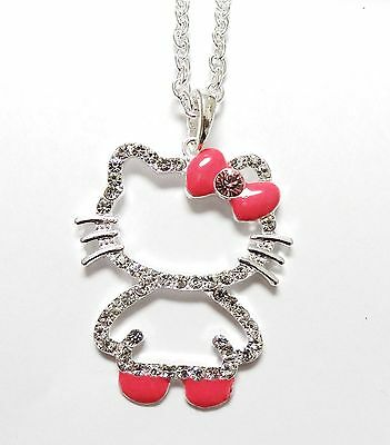 Cute  HELLO KITTY  Full Body Necklace  Silver Plated Hot Pink  Bow in a Gift Box