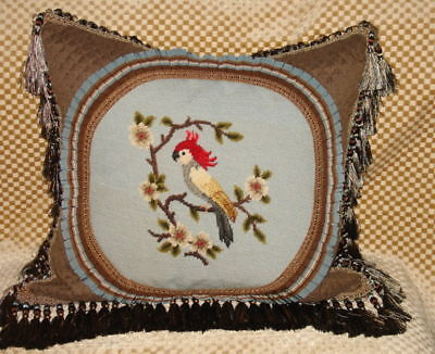 Charming Vintage Hand Stitched Needlepoint Tapestry  Pillow Of A Bird  Woolwork