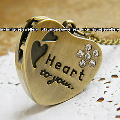 Unique Worded Love Heart Watch Necklace Romantic Xmas Gift For Her Wife Lady Sis