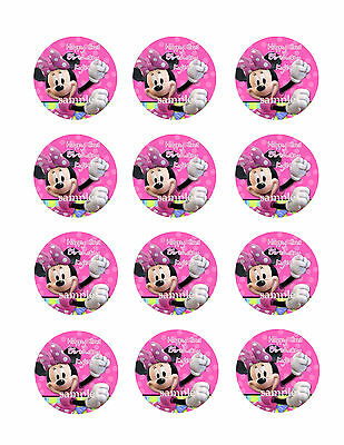 MINNIE MOUSE Personalized Edible CUPCAKE Decoration Image Icing Toppers