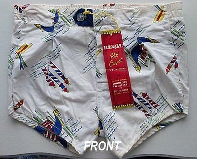 NOS New Old Stock Regal Boys Size 5 Beach Scene with Hang Tag Swimsuit Trunks