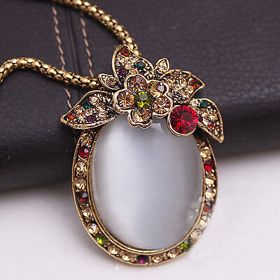 Crystal Diamante Opal Necklace unusual Rare Gift For Her Valentines xmas UK